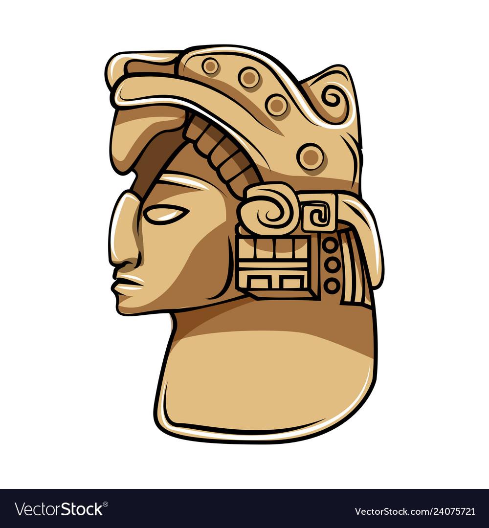 Aztec statue head ethnic totem