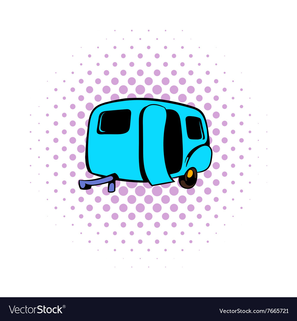 Camping trailer icon comics style