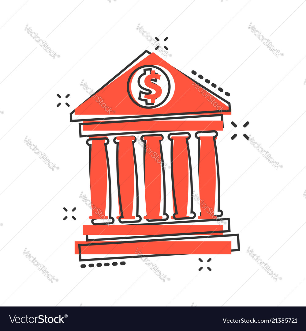 Cartoon bank building with dollar sign icon in