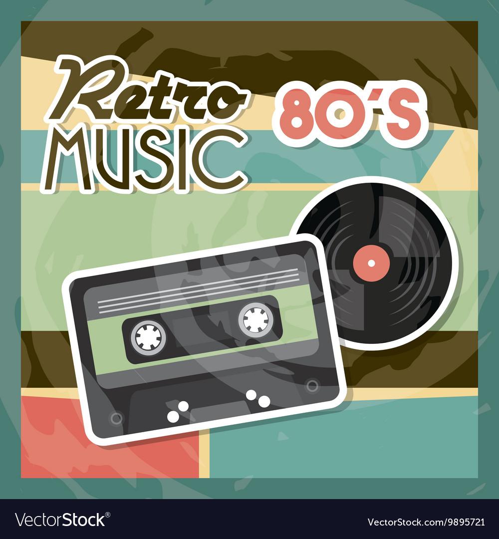 Cassette vinyl icon Retro and Music design