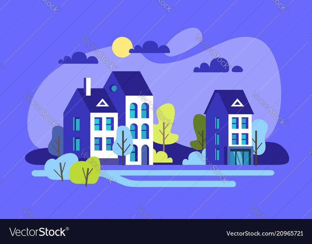 City houses facades