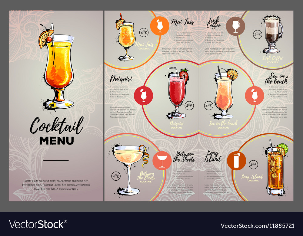 cocktail menu design royalty free vector image