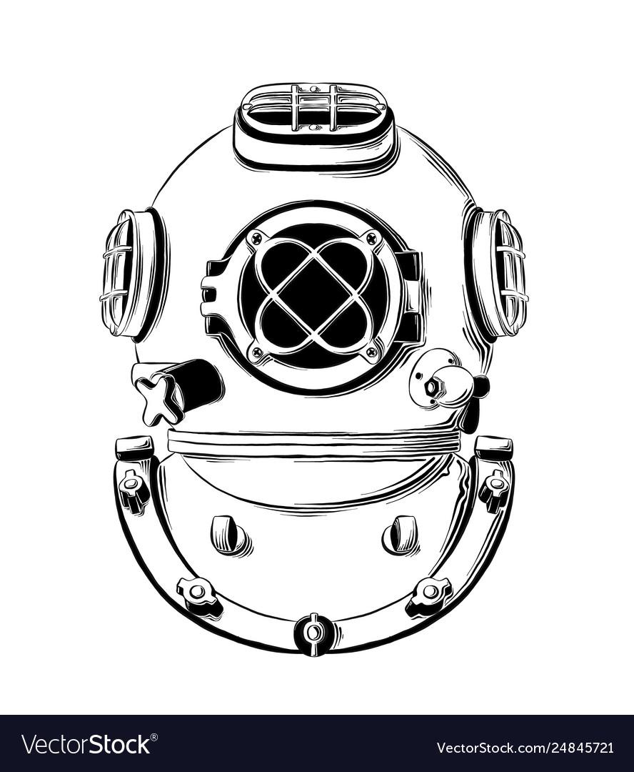 Drawing diving helmet in black color