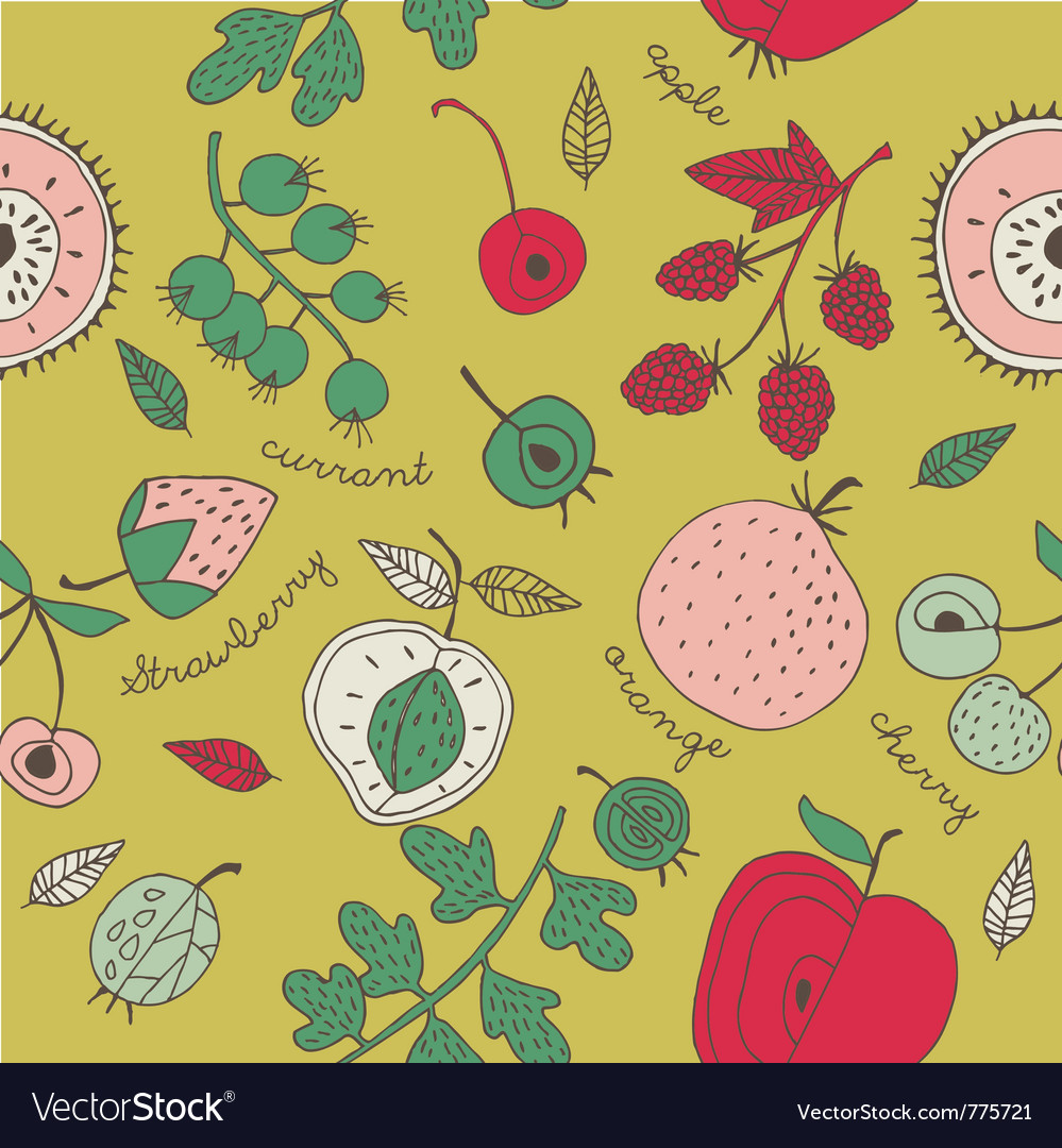 Fruit Kitchen Wallpaper Royalty Free Vector Image