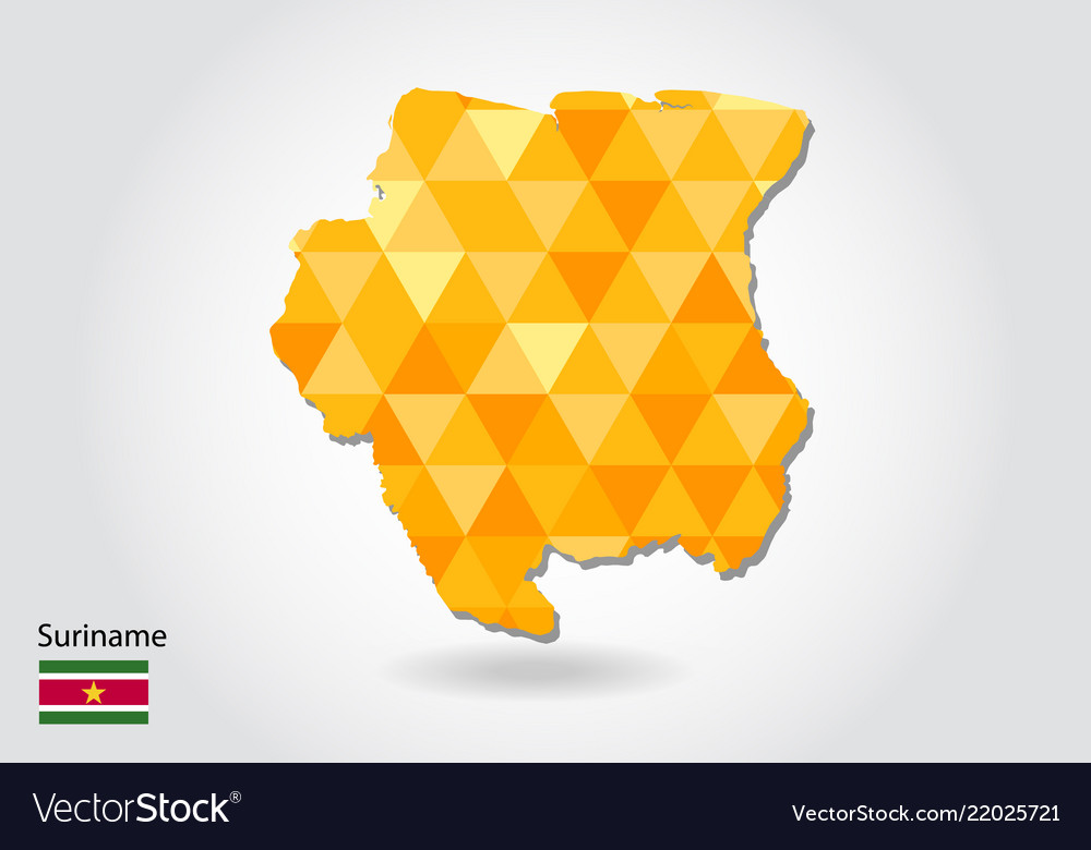 Geometric polygonal style map of suriname low