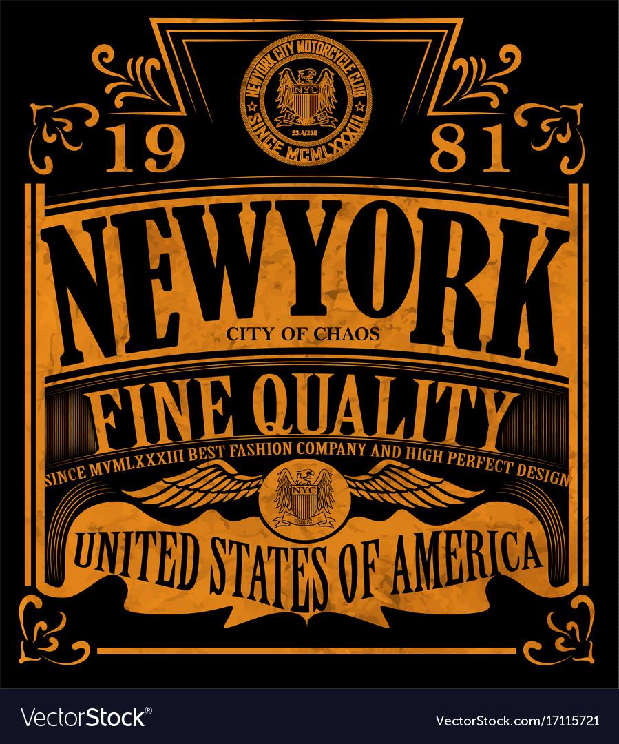 New york vintage slogan man t shirt graphic design vector image