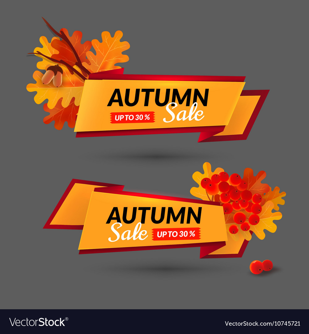 Set with banners Autumn sale event