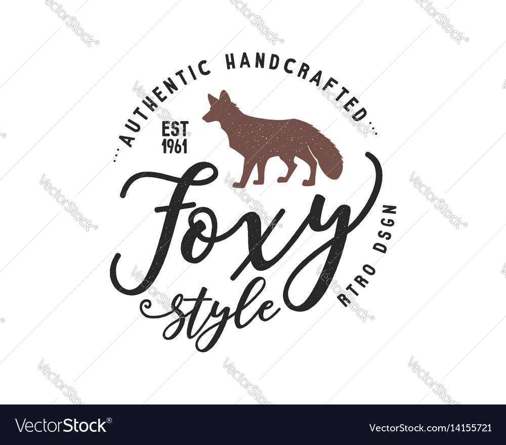 Vintage hand drawn wild animal label fox