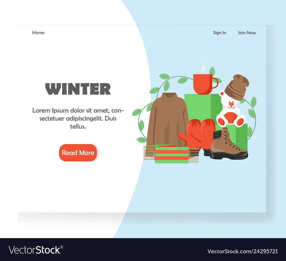 Winter website landing page design template