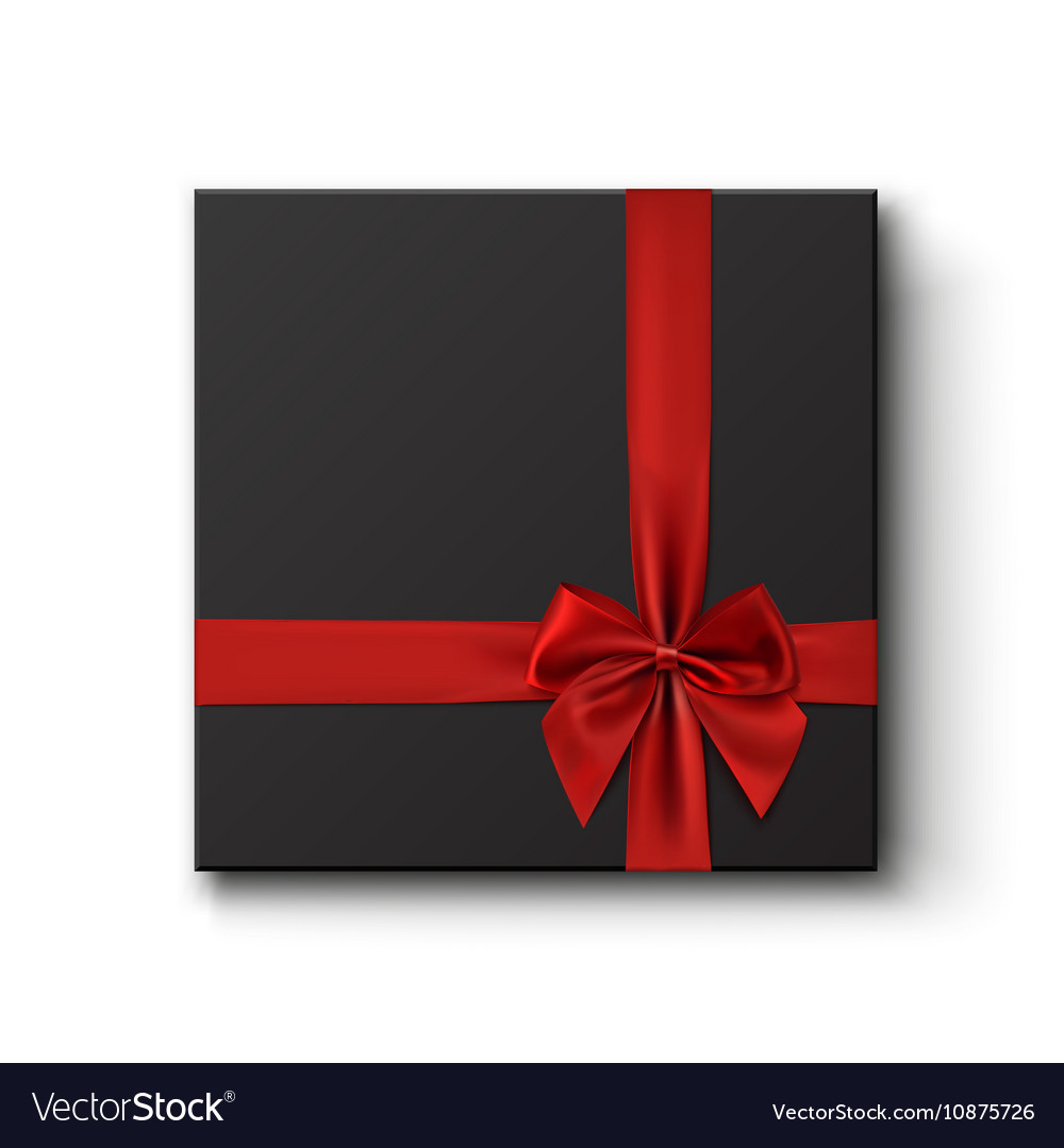 Blank Black Gift Box With Red Ribbon Royalty Free Vector