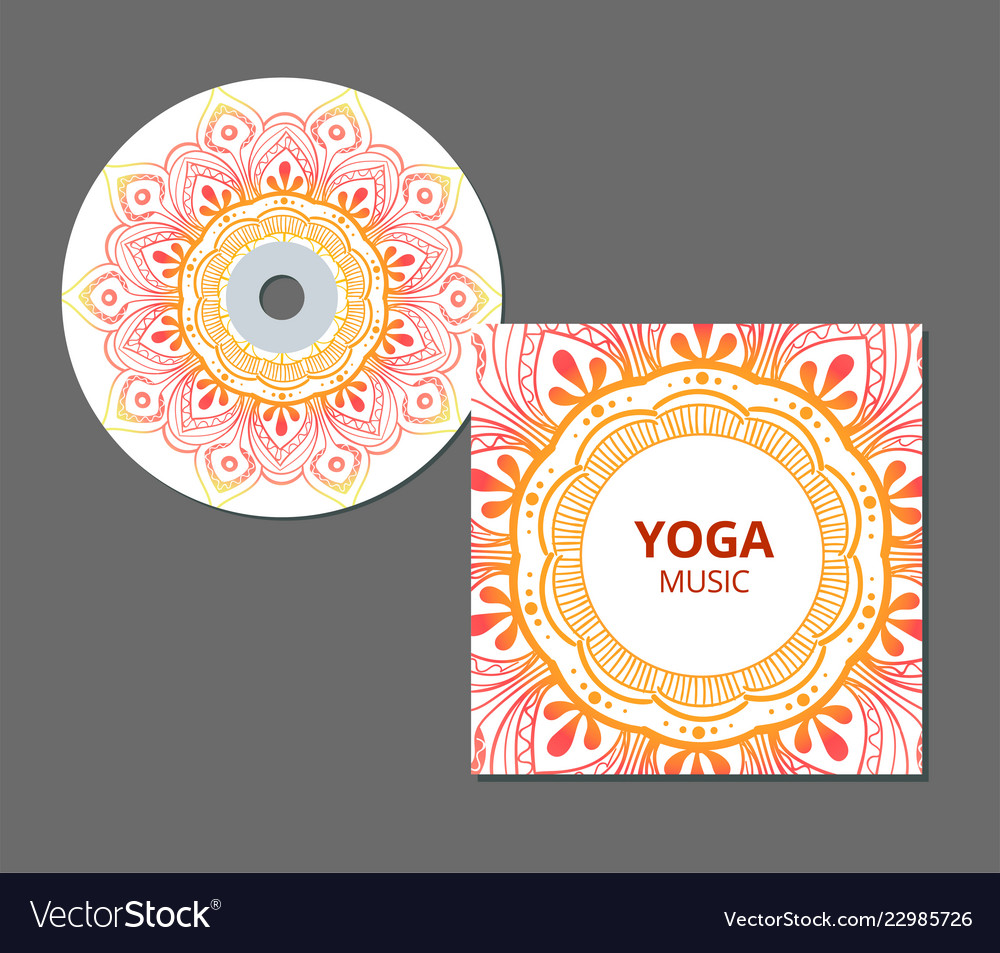 cd cover design template with floral mandala style