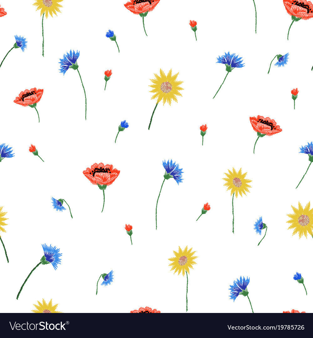 Floral embroidery seamless pattern with colorful