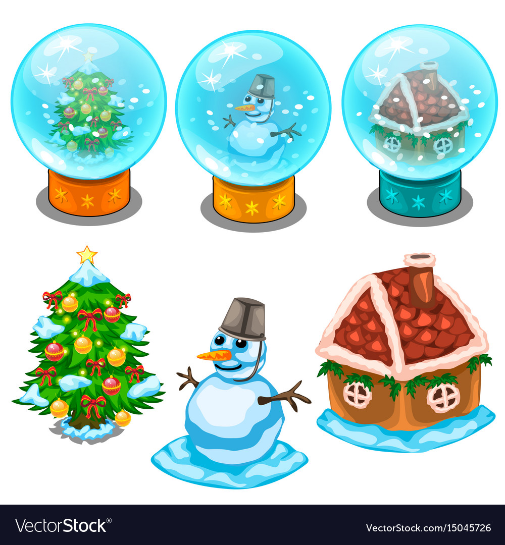 Glass balls christmas tree snowman and house