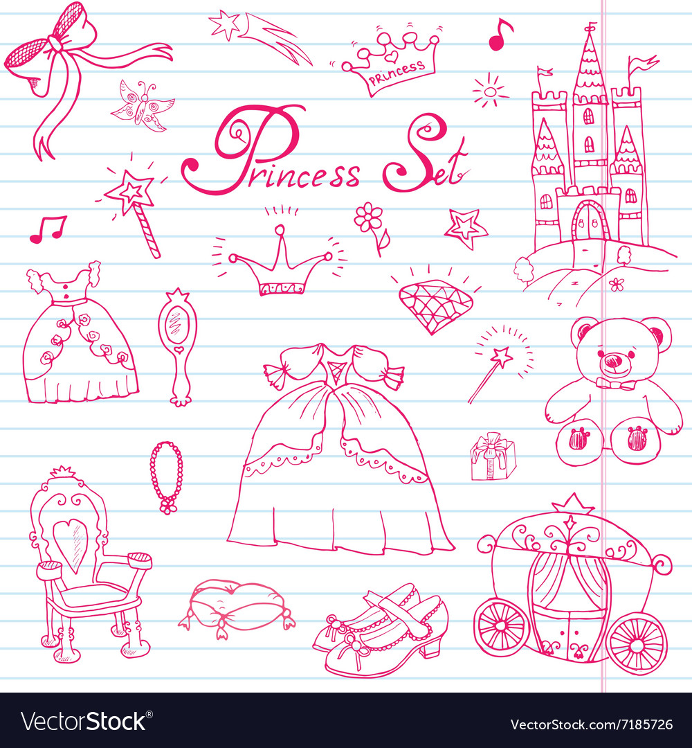 Hand drawn set of princess sign Castle throne and