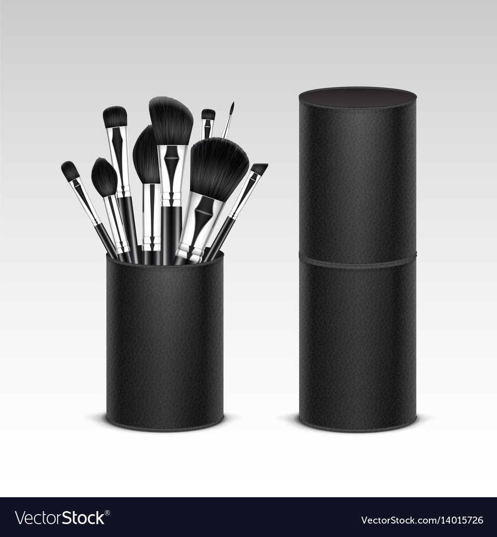 Set of black professional makeup brushes intube vector image