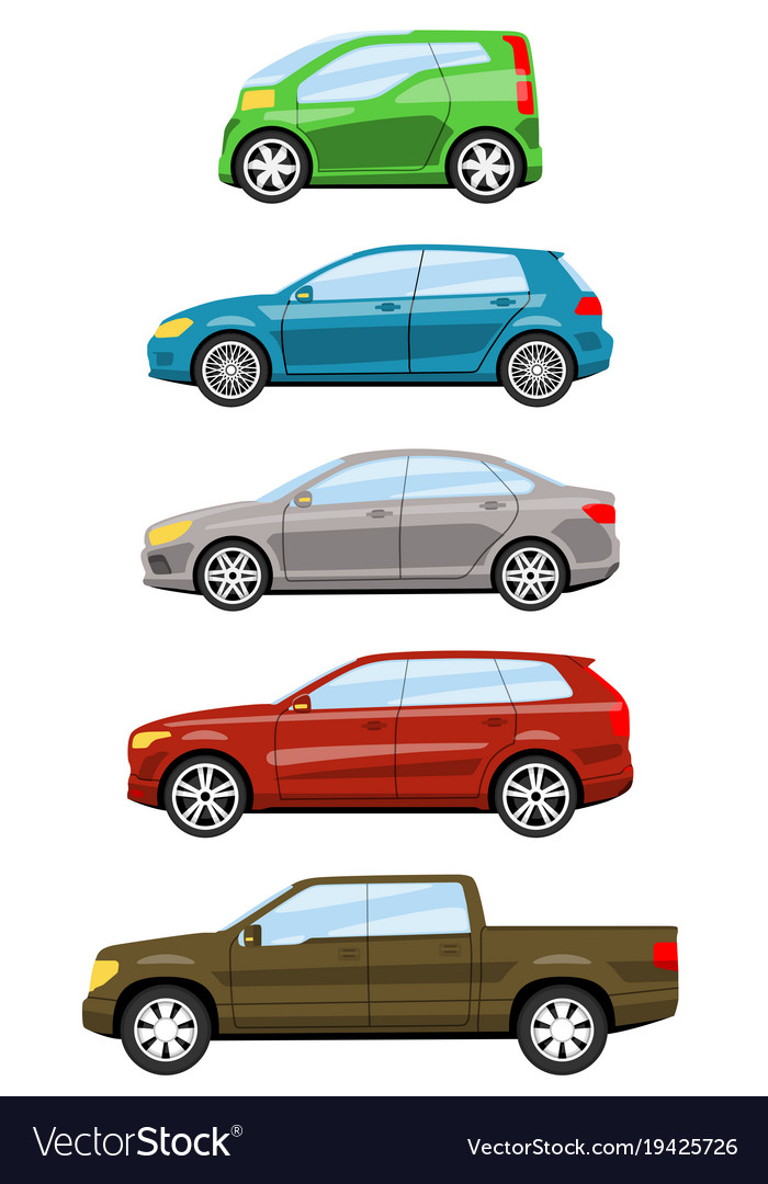 Set of cars side view Royalty Free Vector Image