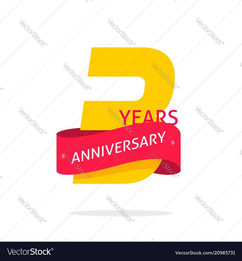 3 years anniversary logo template isolated