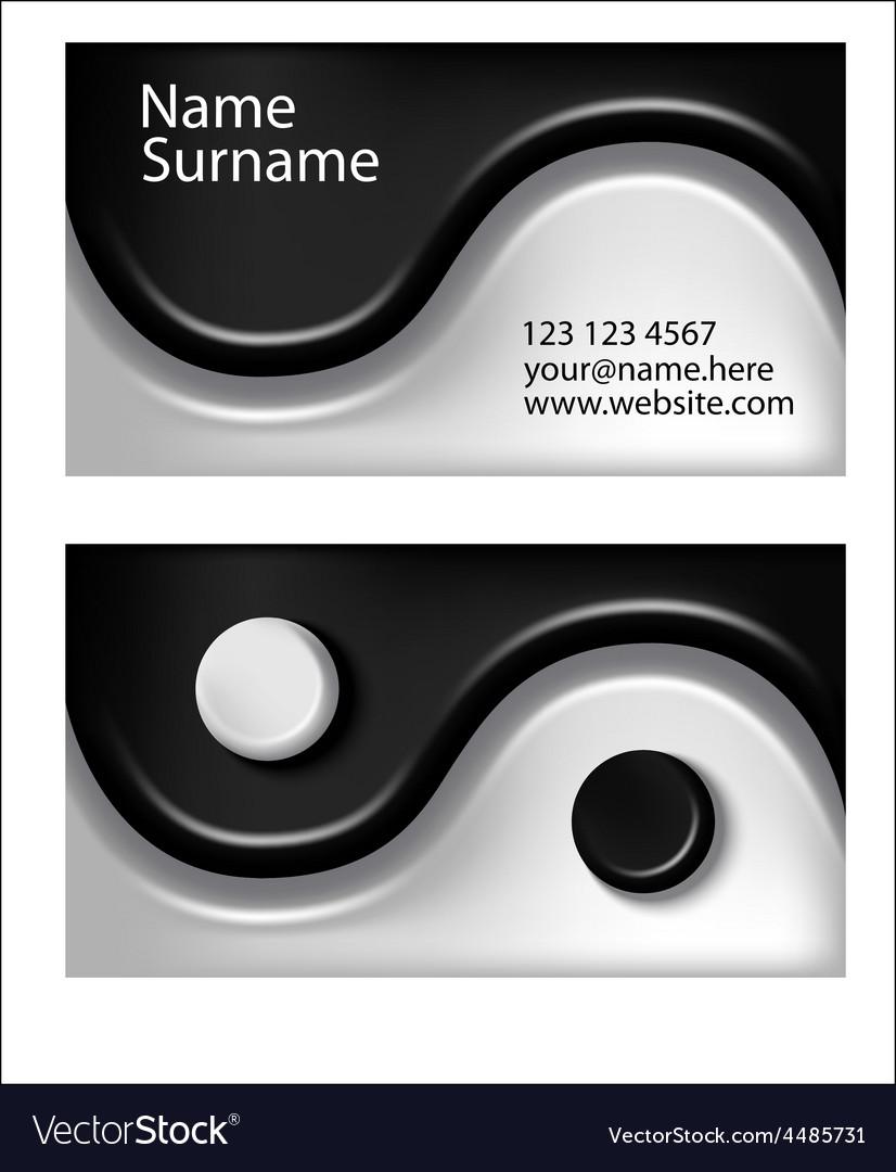 Business Card Yin Yang Symbol Royalty Free Vector Image