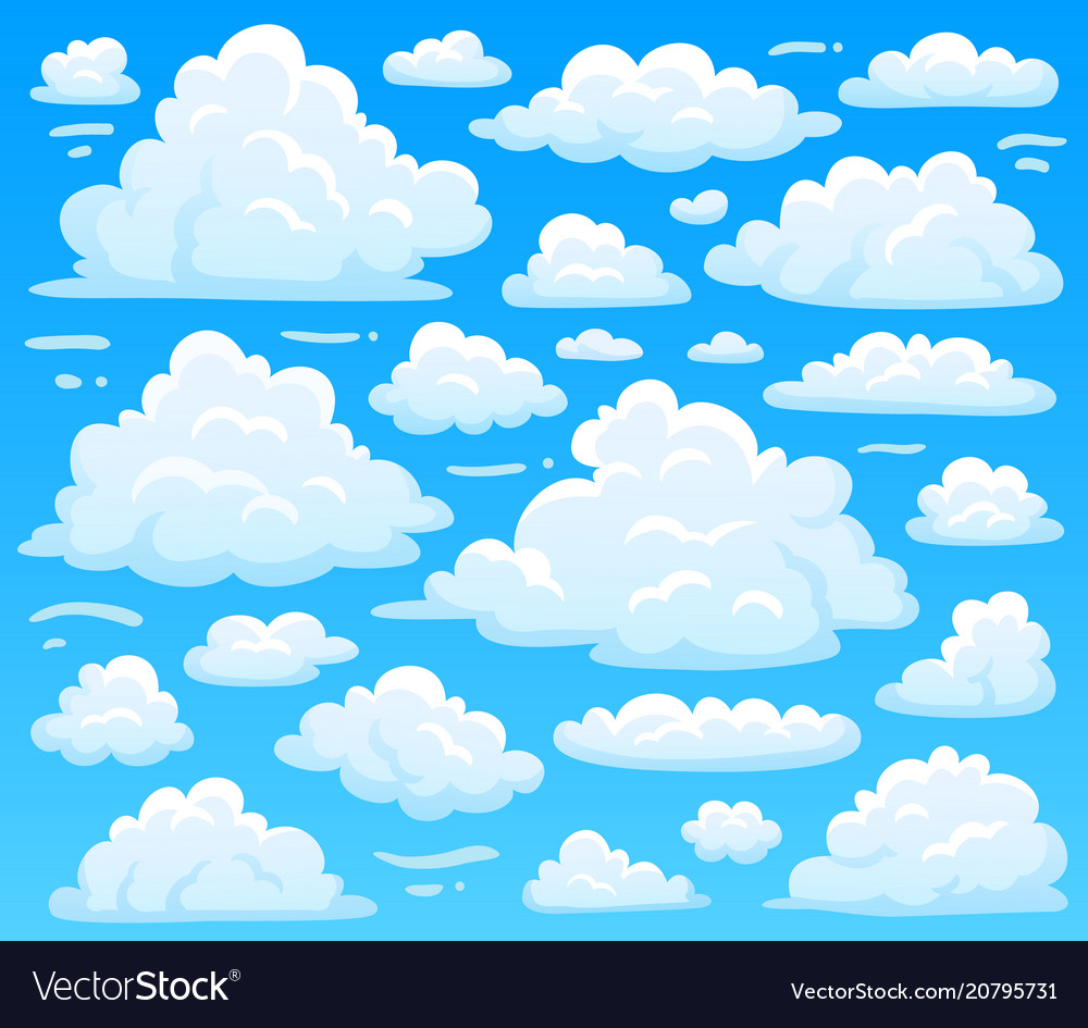 Cartoon fluffy cloud at azure skyscape heavenly