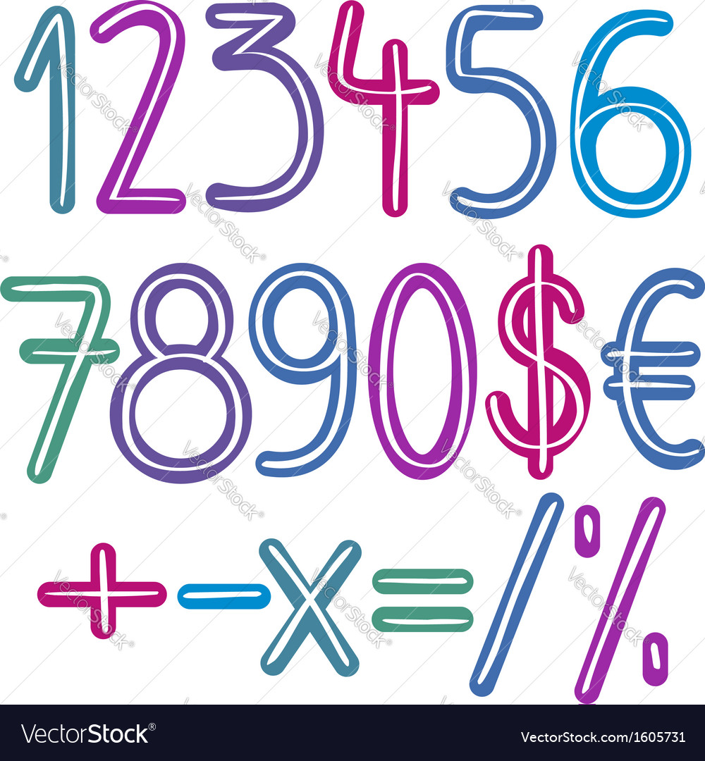 Colorful brush numbers vector image