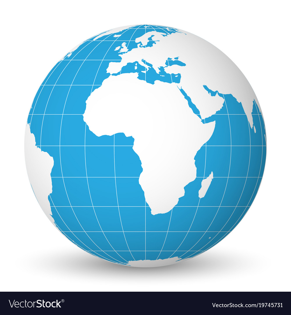 earth globe with white world map and blue seas and vector image