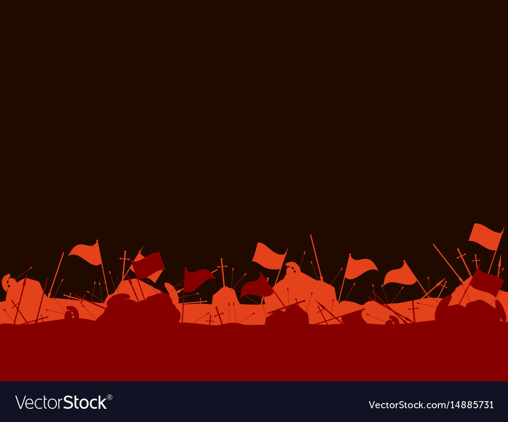 Medieval battlefield after the battle flags vector image