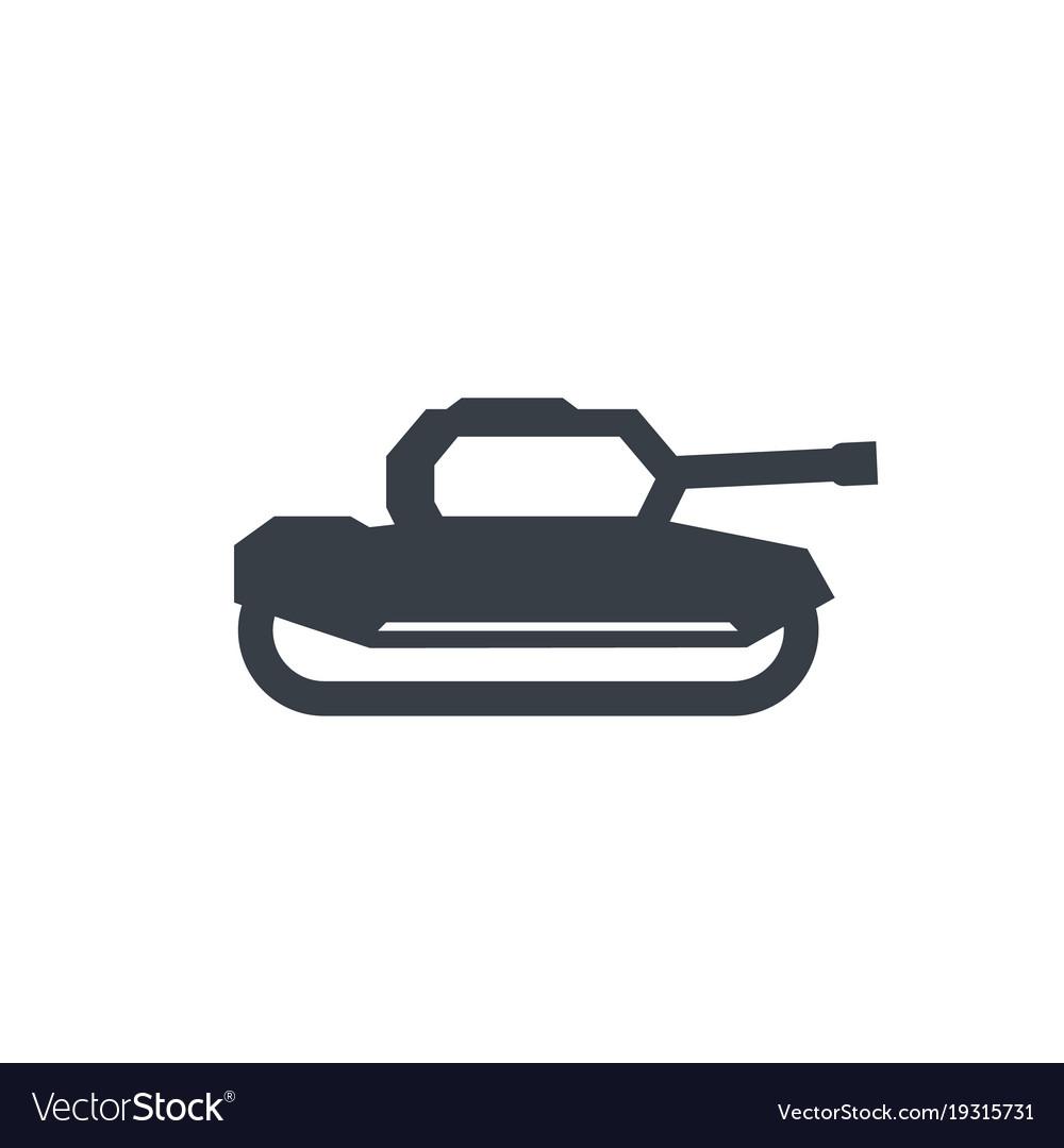 Military tank icon on white
