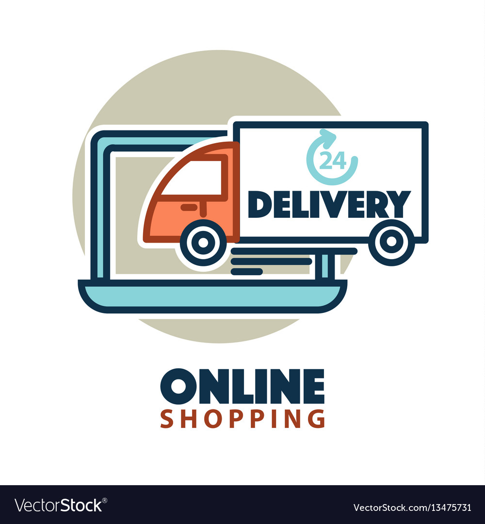 Online shopping web icon template computer