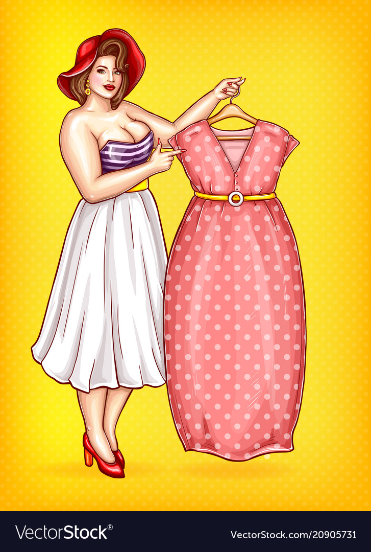 30b8b8234b70 Overweight woman tailor pointing at dress Vector Image