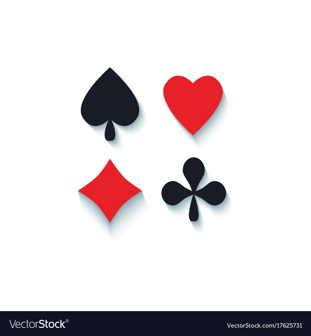 Set of flat playing card suit signs