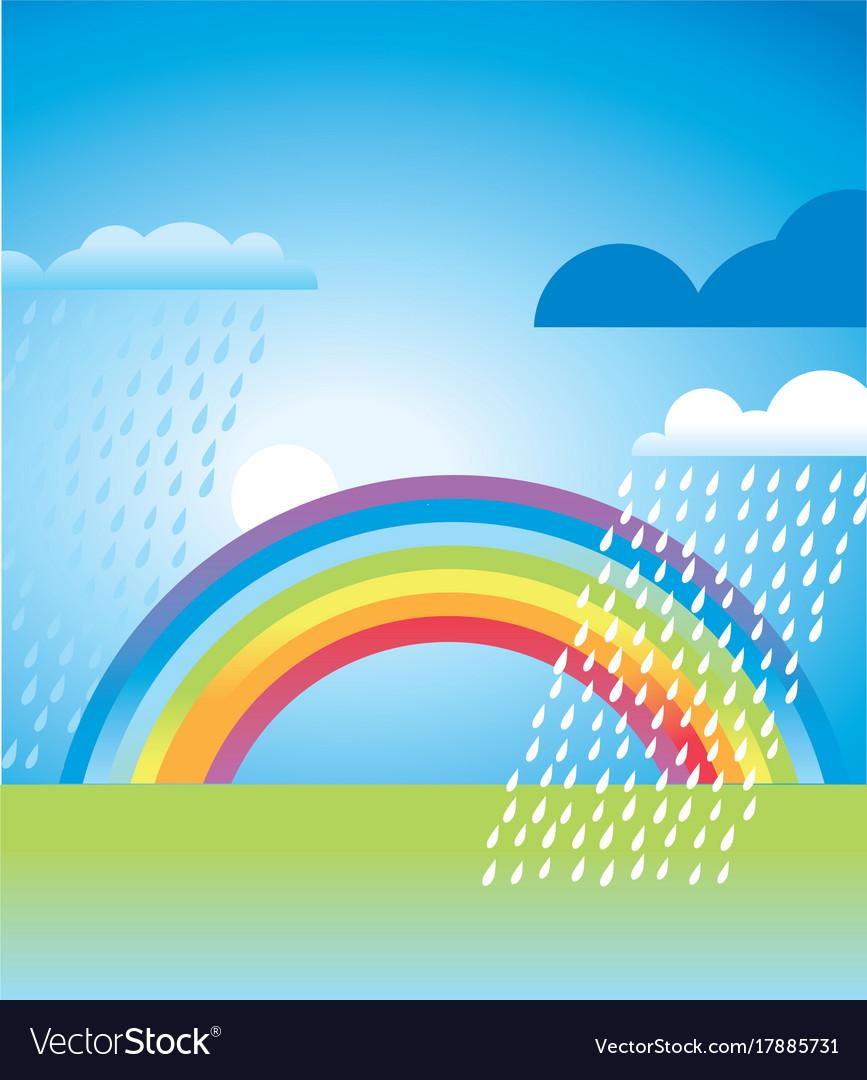 Simple rainbow landscape in vivid color
