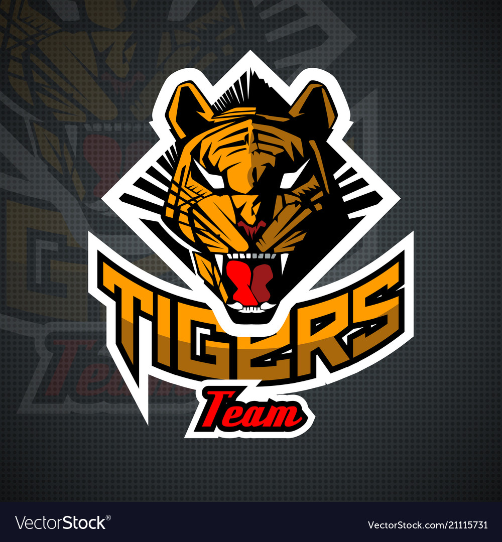 Tiger face for team sport theme on black vector image