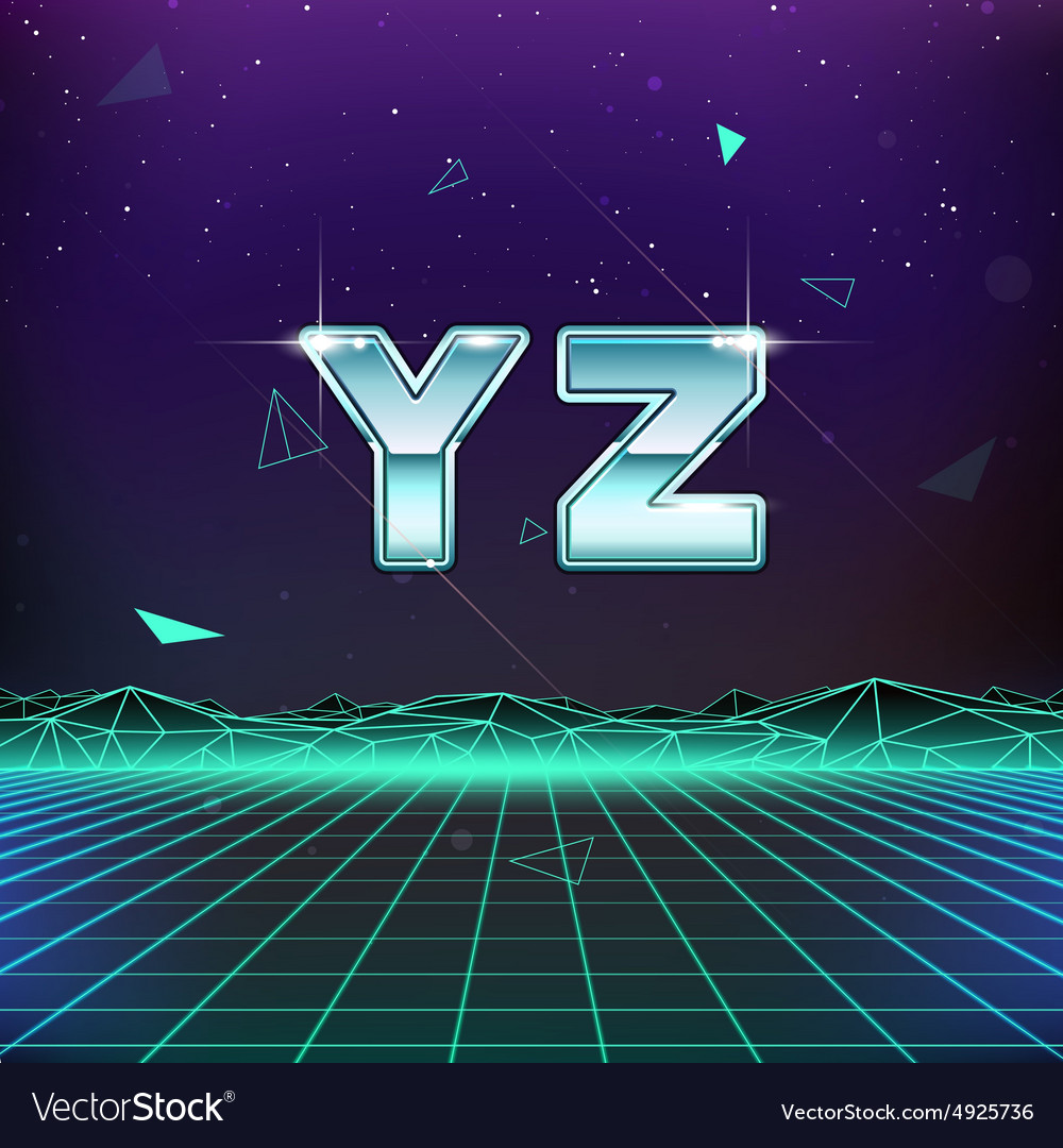 80s retro sci-fi font from y to z