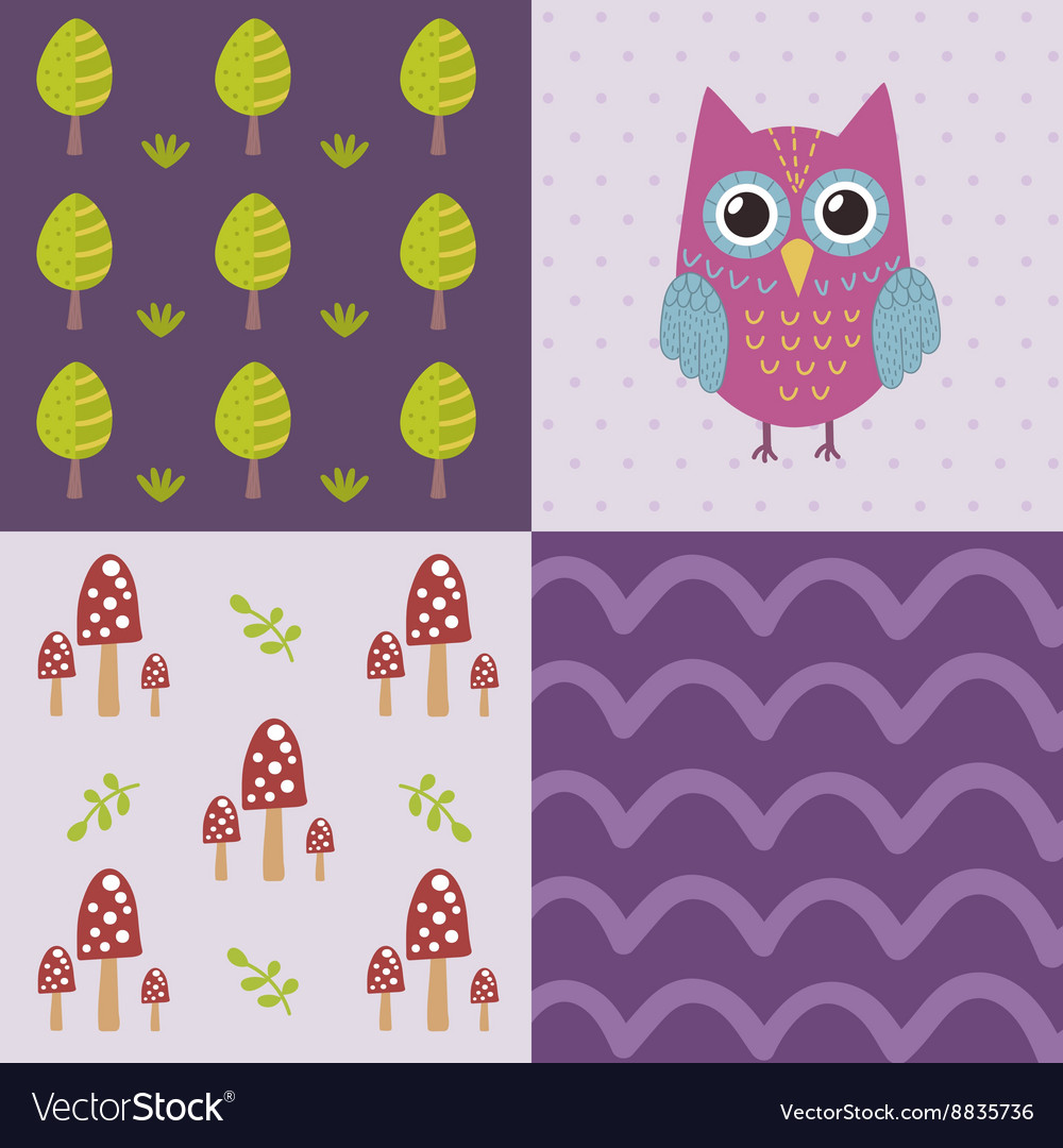 Baby shower pattern with a cute owl vector image