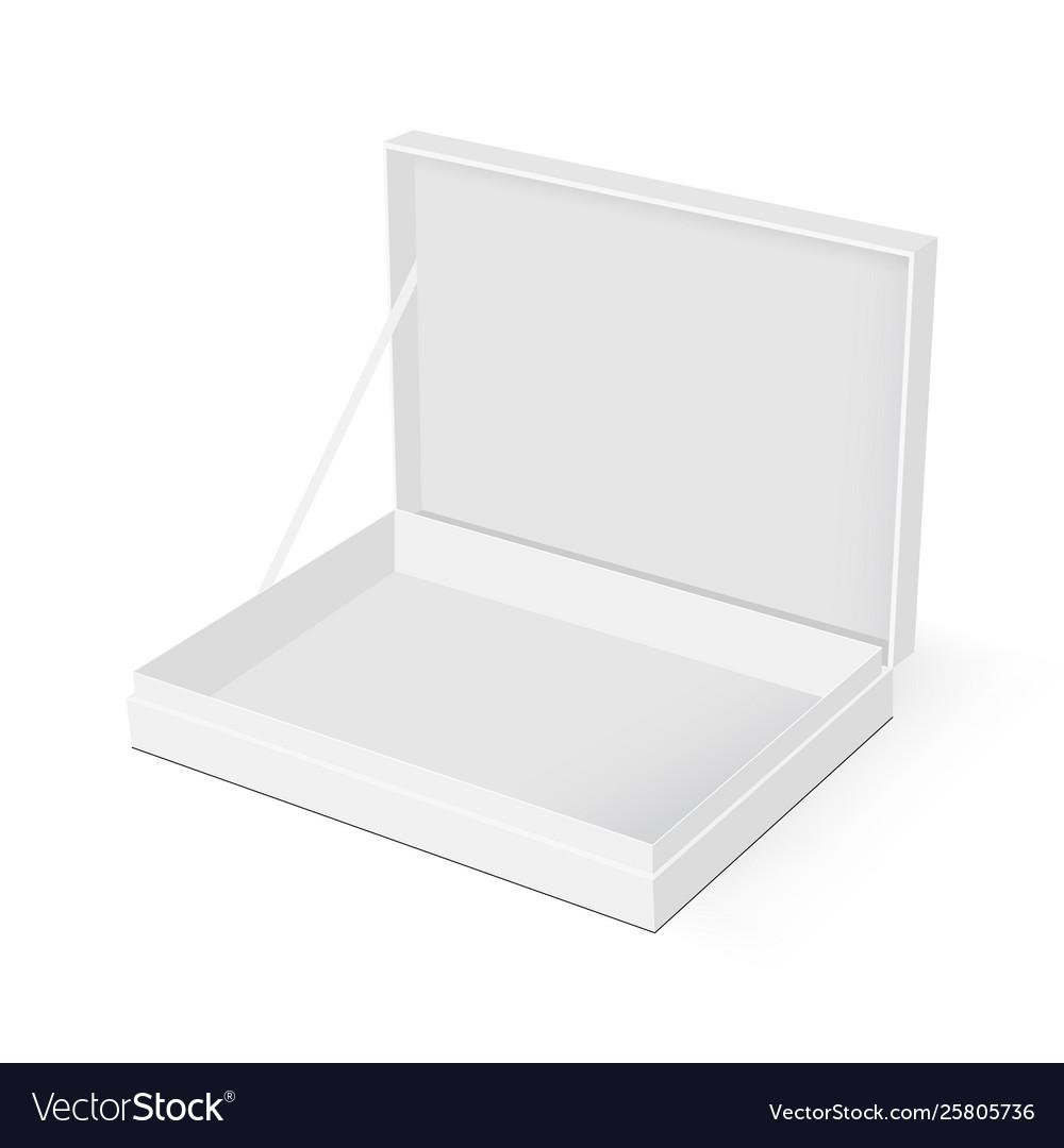 Blank rectangular box with opened lid mockup