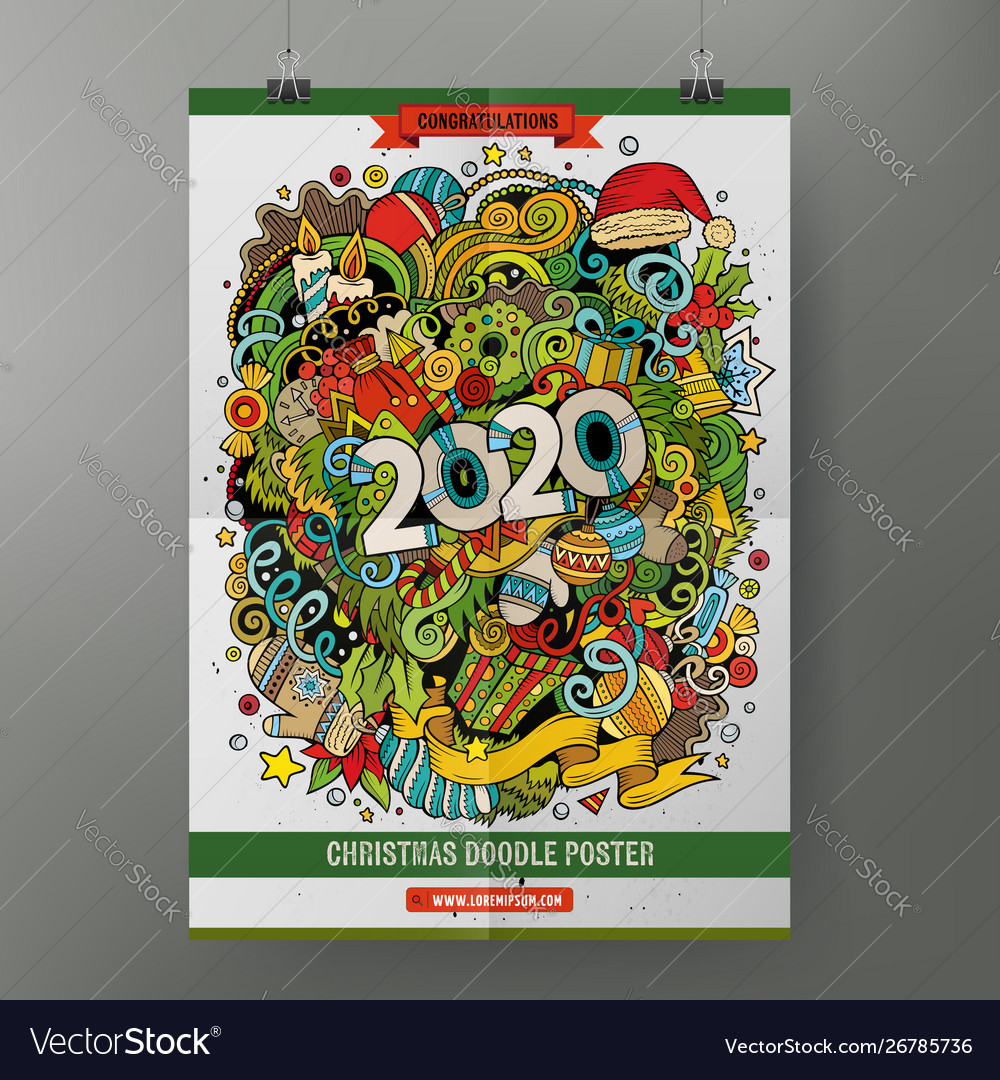 Cartoon colorful hand drawn doodles 2020 year