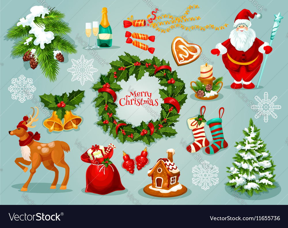 Christmas Day Celebration.Christmas Day Holidays Celebration Icon Set