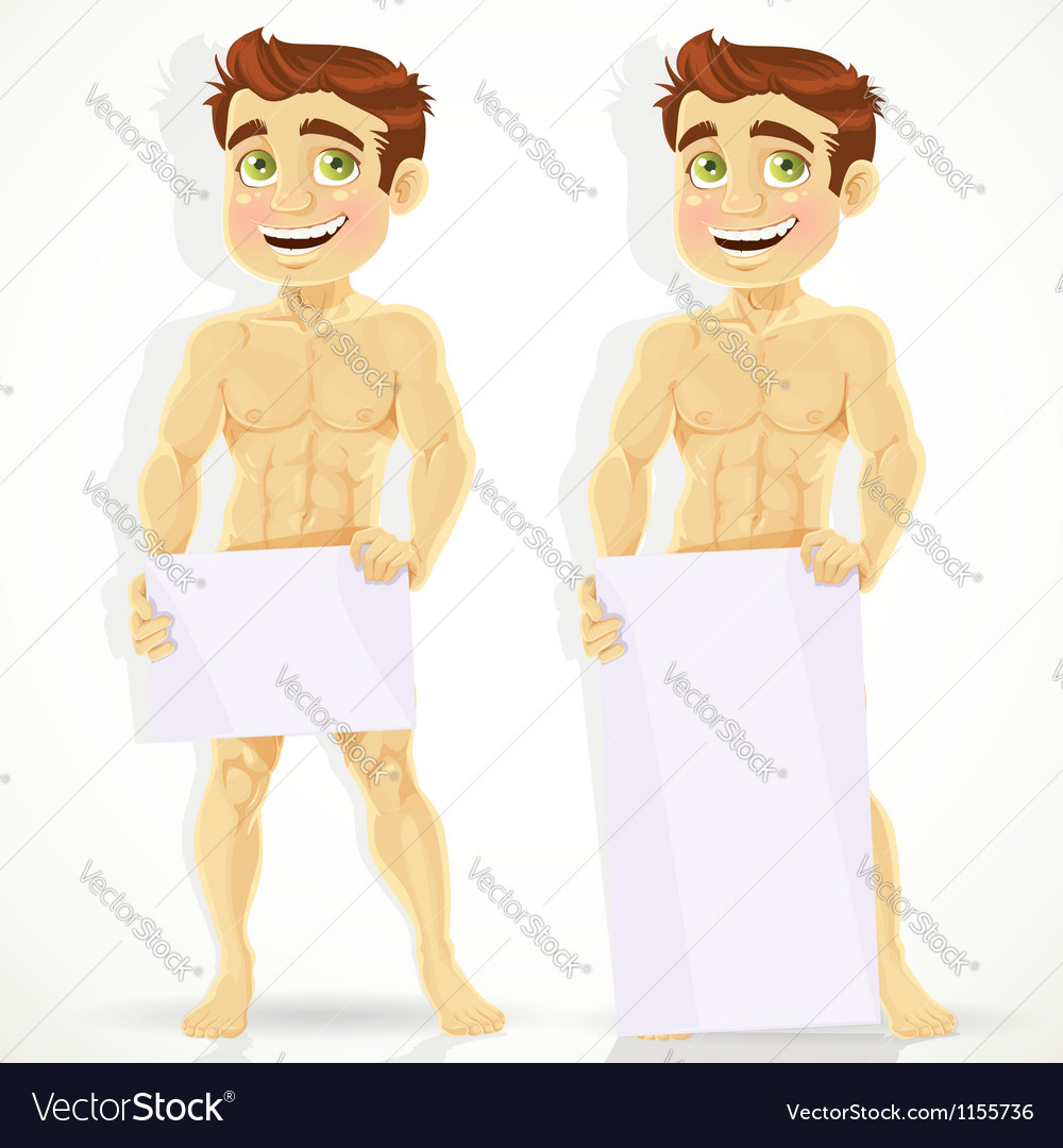 Cute naked man with posters for your message vector image