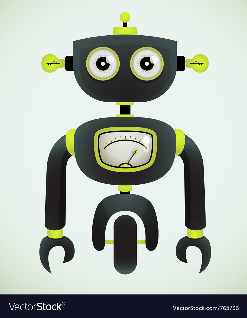 Cute retro robot vector image