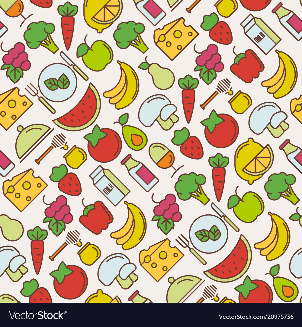 Healthy food seamless pattern with thin line icons