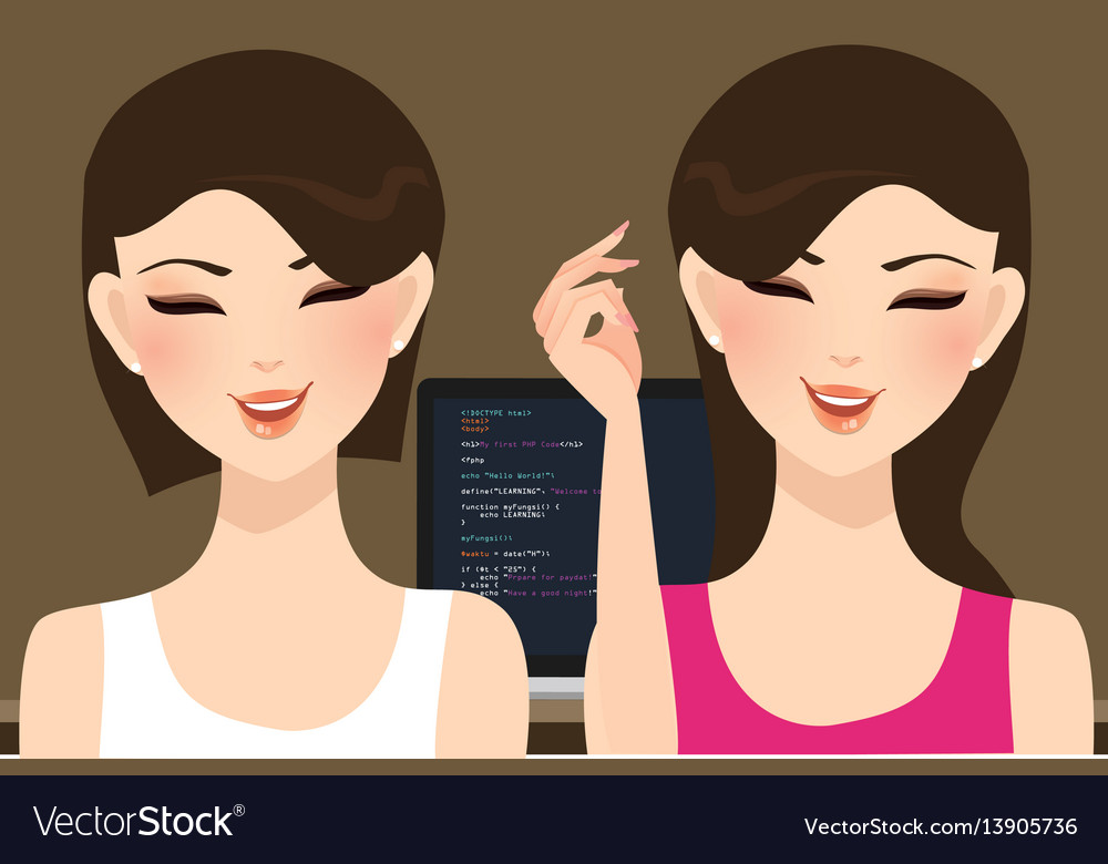 Pair programming beautiful woman girl coding in