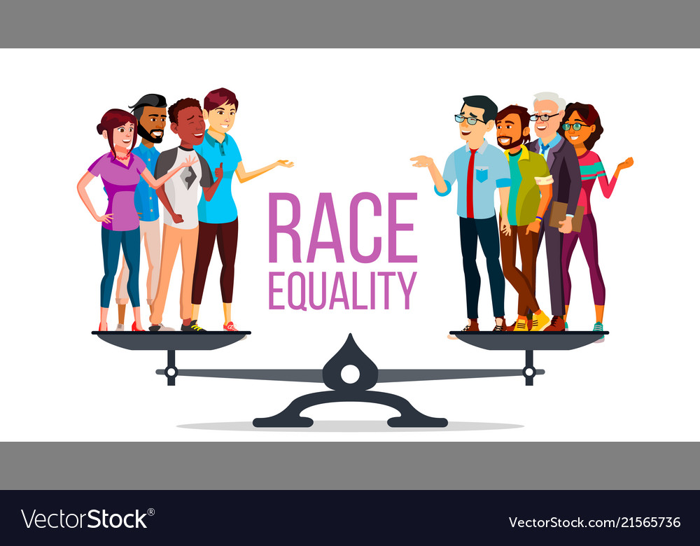 Race equality standing on scales equal