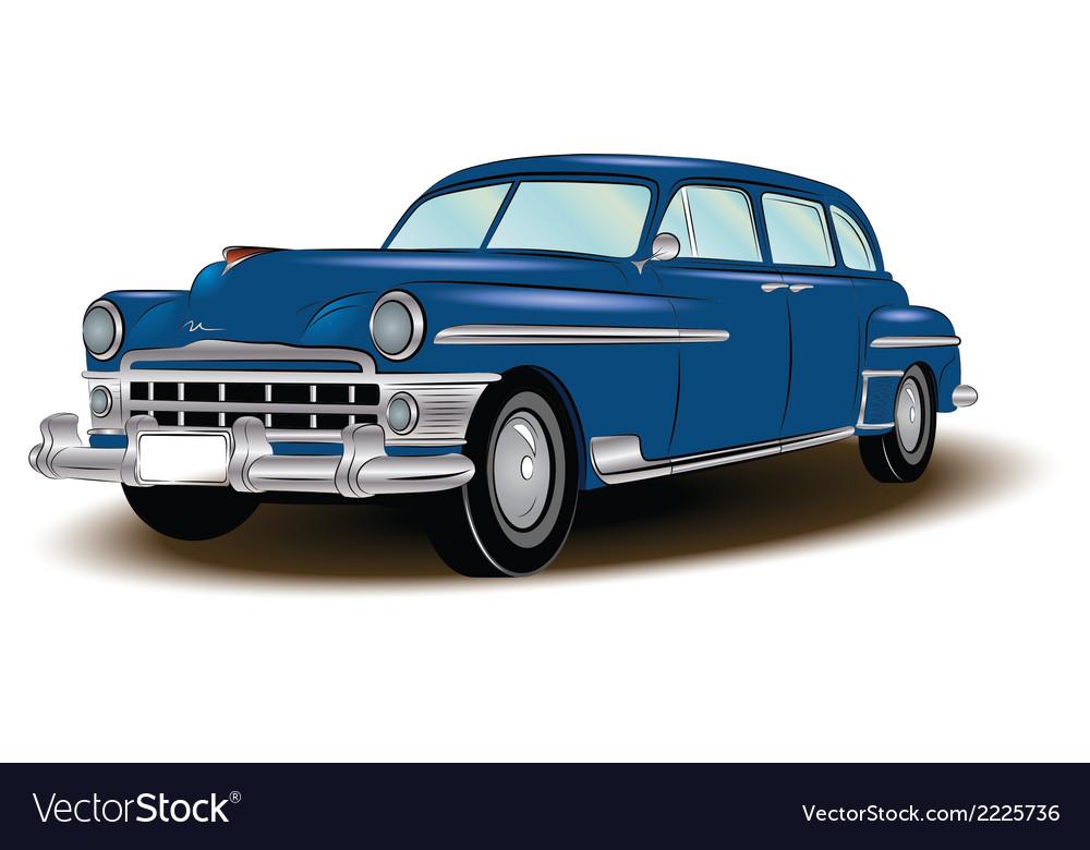 Retro car blue