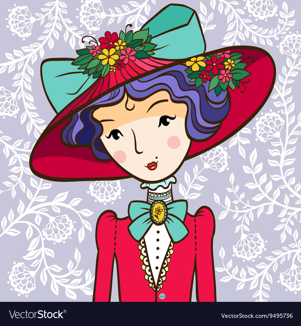 Retro girl in a Hat vector image