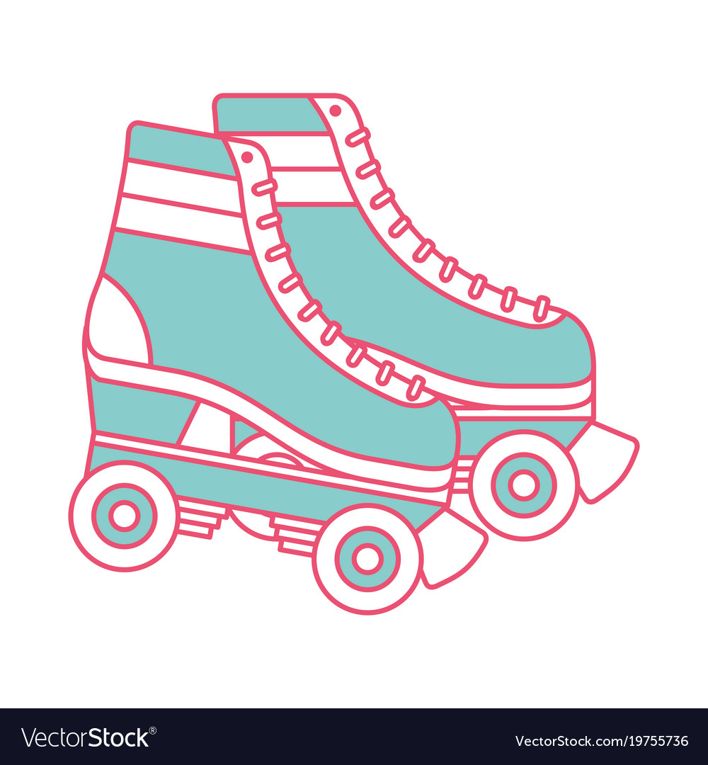 Retro Roller Skates Wheels Trendy Vintage Vector Image