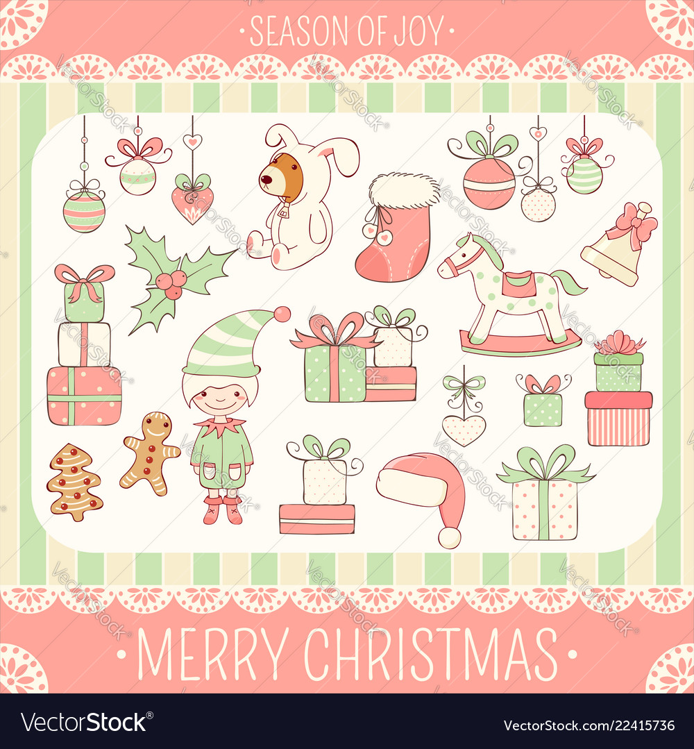 Cute Christmas Party.Set Of Cute Christmas Party Icons In Retro Style