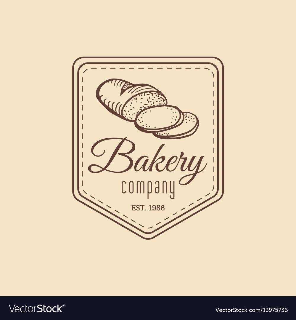 Vintage baked bread logo retro hipster