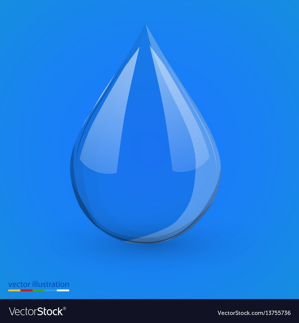 Water drop on blue isolated