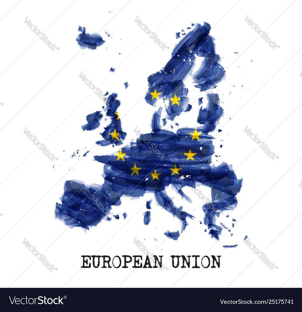 European union flag eu watercolor painting