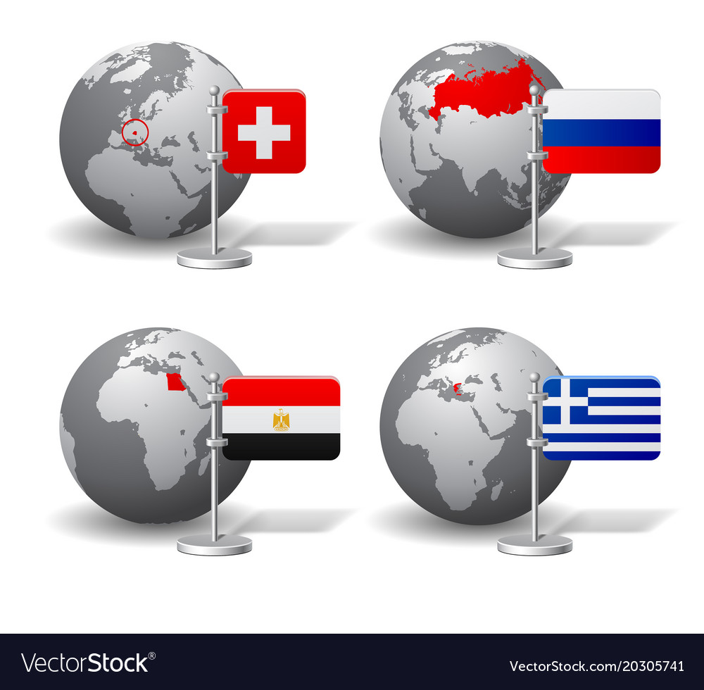 Gray earth globes with designation of switzerland